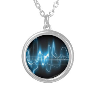 DIGITAL ELECTRIC CURRENT SWIRLS ABSTRACT TIMELINE SILVER PLATED NECKLACE