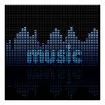 Digital Equalizer Music Wall - Poster