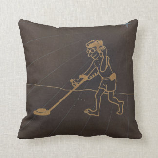 Digital Etched Art Metal Detecting Guy Throw Pillow