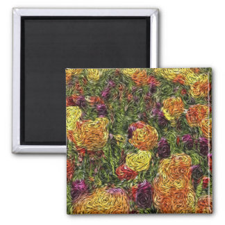 Digital Expressionism: Field of Tulips 2 Inch Square Magnet