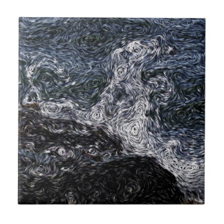 Digital Expressionism: Rock in Stormy Sea Ceramic Tile