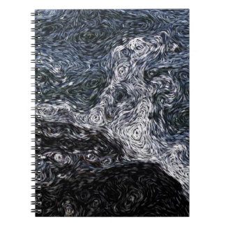 Digital Expressionism: Rock in Stormy Sea Notebook