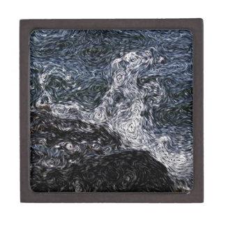 Digital Expressionism: Rock in Stormy Sea Premium Keepsake Boxes