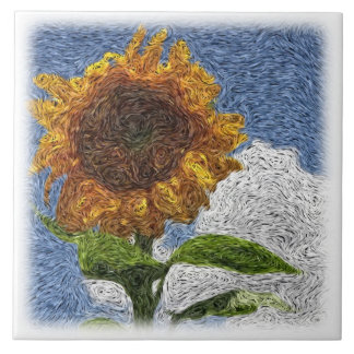 Digital Expressionism: Sunflower Tile