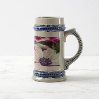 Digital Field of Pink and Purple Flowers Beer Stein
