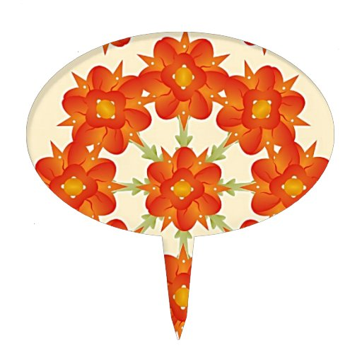 Digital Floral Pattern Cake Picks
