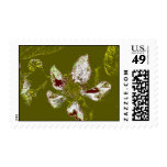 Digital flower on green stamp