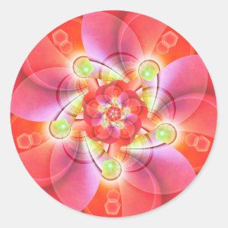 Digital flower orange red created by Tutti Classic Round Sticker