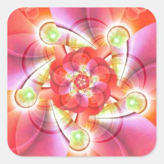 Digital flower orange red created by Tutti Square Sticker