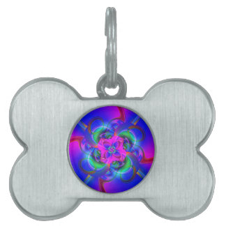 Digital Flower pink and blue Pet ID Tag