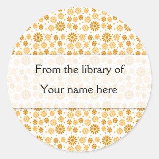 Digital Flowers Personalized Bookplates Classic Round Sticker
