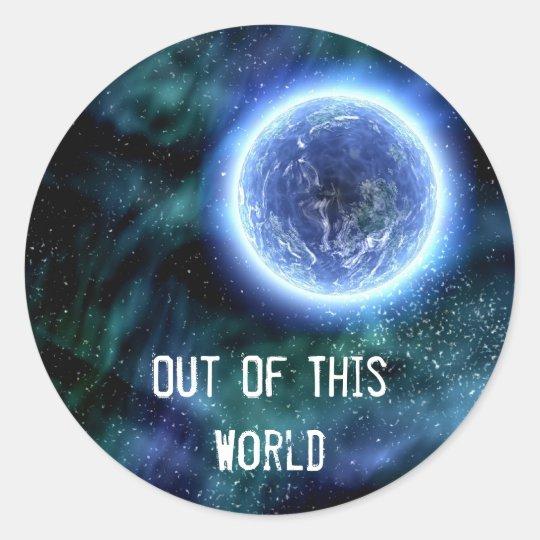 Digital Galaxy Alien Planet In Space Blue Nebula Classic Round Sticker