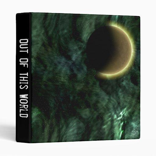 Digital Galaxy Alien Planet In Space Green Nebula 3 Ring Binder