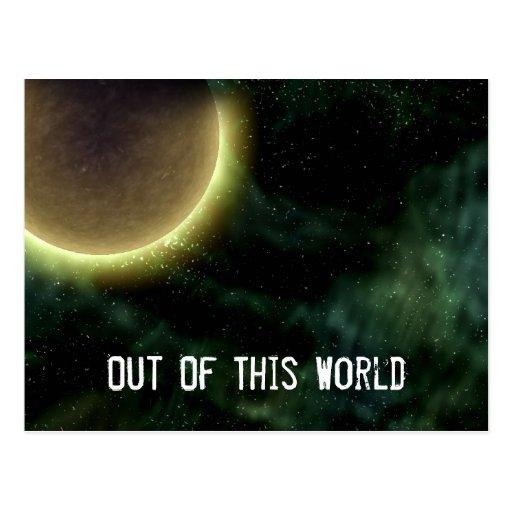 Digital Galaxy Alien Planet In Space Green Nebula Postcard
