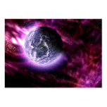 Digital Galaxy Alien Planet In Space Pink Nebula Large Business Cards (Pack Of 100)