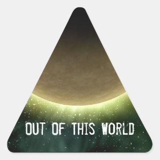 Digital Galaxy Alien Planet In Space Pink Nebula Triangle Sticker