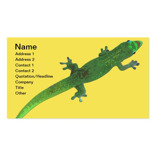Digital Gecko on Yellow Business Card