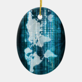 Digital Global Technology Concept Abstract Ceramic Ornament