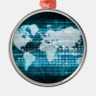 Digital Global Technology Concept Abstract Metal Ornament