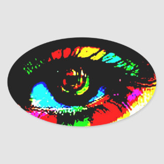 Digital Graffiti Eye Oval Sticker