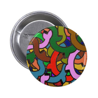 Digital Graffiti of Colorful Pipes Pinback Button