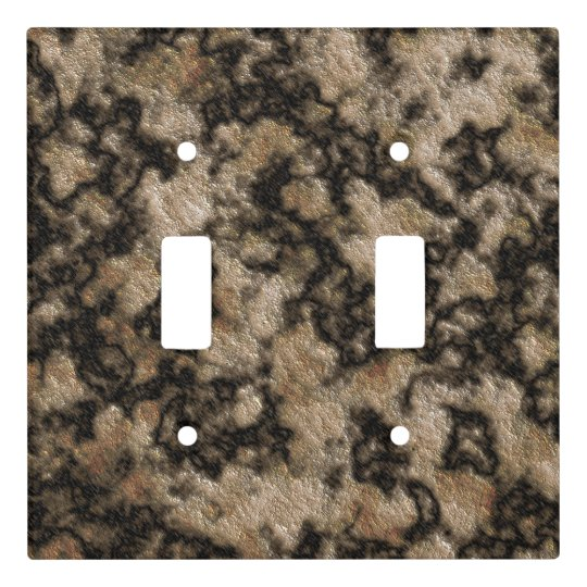 Digital Granite Texture Champagne Dark Brown Light Switch Cover