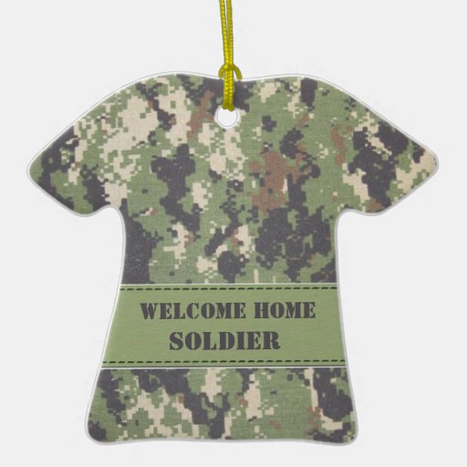 Digital Green and Tan  Camouflage - Welcome Home! Ornament
