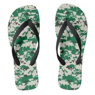 Digital Green Camouflage Flip Flops