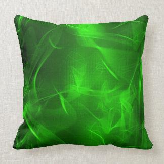 Digital Green Man Fractal Pattern Throw Pillow