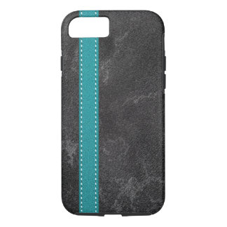 Digital Grey Faux Leather Turquoise Strap iPhone 7 Case