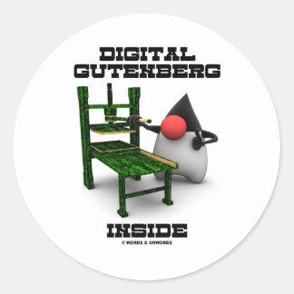Digital Gutenberg Inside (Open Source Duke) Round Sticker