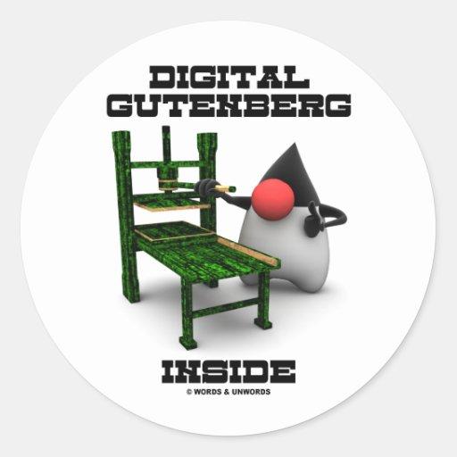 Digital Gutenberg Inside (Open Source Duke) Classic Round Sticker