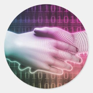 Digital Handshake Between Man and Machine Classic Round Sticker