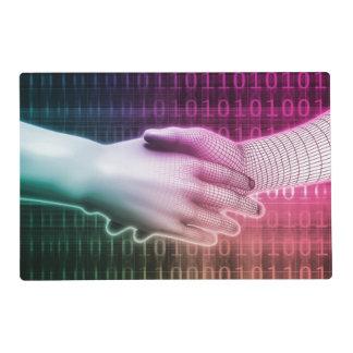 Digital Handshake Between Man and Machine Laminated Place Mat