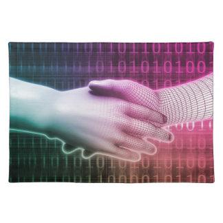 Digital Handshake Between Man and Machine Cloth Place Mat
