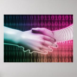 Digital Handshake Between Man and Machine Poster
