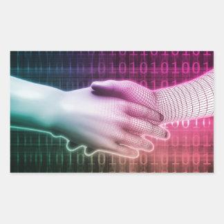 Digital Handshake Between Man and Machine Rectangular Sticker