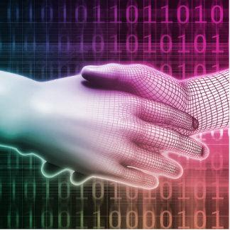 Digital Handshake Between Man and Machine Statuette
