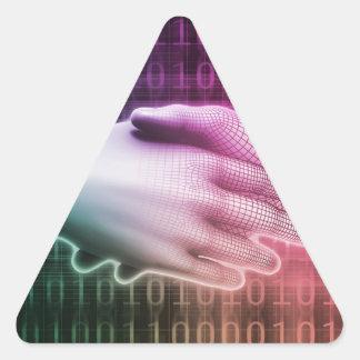 Digital Handshake Between Man and Machine Triangle Sticker