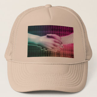 Digital Handshake Between Man and Machine Trucker Hat