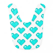 Digital Heart Pattern; Turquoise Bib