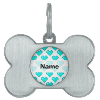 Digital Heart Pattern; Turquoise Pet Name Tags