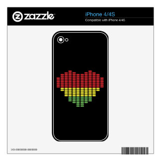 Digital heart Phone skin Decals For The iPhone 4S