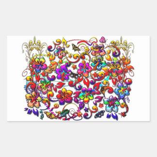 Digital Hibiscus Floral Pattern Rectangular Sticker