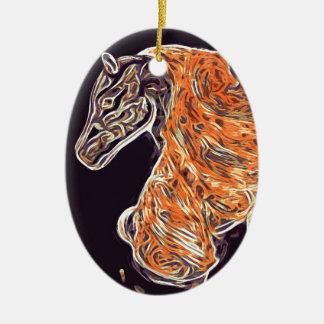 Digital Horse acrylic painting Ceramic Ornament