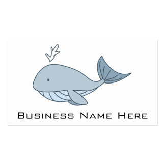 Digital illustration, Blue Whale, Ocean Animal Business Card Template