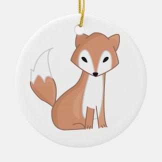 Digital Illustration Of A Cute Fox Ceramic Ornament