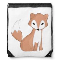 Digital Illustration Of A Cute Fox Drawstring Bag