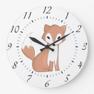 Digital Illustration Of A Cute Fox Large Clock