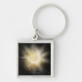 Digital Illustration of a Solar System Silver-Colored Square Keychain